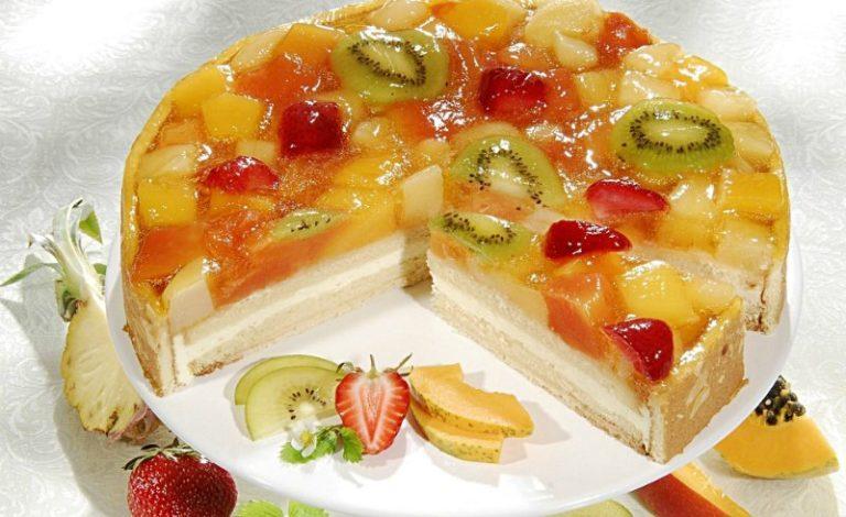 Десерт сметана желатин фрукты бисквит